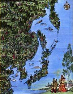 An illustration map of Japan and northeastern Asia.
