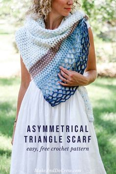 This easy, asymmetrical crochet triangle scarf pattern is perfect for summer weddings. The puff stitch and lace pattern are very simple to learn, yet create a beautiful effect. Free pattern and tutorial featuring Lion Brand Mandala and Ice Cream yarns! Crochet Shawls And Wraps, Crochet Scarves, Crochet Clothes, Shawl Patterns, Afghan Crochet Patterns, Crochet Afghans, Lace Patterns, Crochet Granny, Flower Patterns