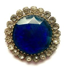 Antique Button ~ Gorgeous LG Victorian Faceted Blue Glass Jewel w Paste Border Buttons For Sale, Sapphire, Antiques, Rings, Jewelry, Antiquities, Antique, Jewlery, Jewerly