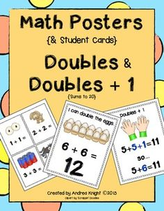 """Math Posters:  Doubles and Doubles + 1  {Doubles posters include sums to 20, written both horizontally and vertically.  There is also a poster for each """"doubles + 1"""" sum and student cards.}  36 pages, $"""