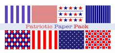 PATRIOTIC Red white and blue Paper Pack Digital by DigitalAlice