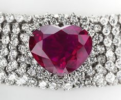Garrard, 40.63 carat, heart shaped Burmese ruby mounted on a 155 carat diamond necklace which can also be transformed into a tiara