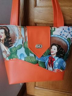 Sac Samba orange et imprimé Far West avec fermeture du Madison cousu par Daniele - Patron Sacôtin