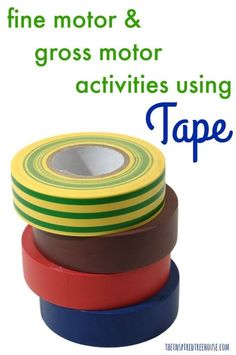 The Inspired Treehouse - Check out these fun activities with tape! Perfect for building fine and gross motor skills! Fine Motor Activities For Kids, Motor Skills Activities, Movement Activities, Gross Motor Skills, Sensory Activities, Physical Activities, Sensory Rooms, Music Activities, Kids Motor