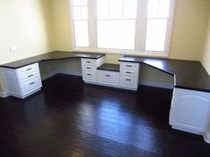 (image only) Nice layout for 2 desks in an ordinary shaped room. Space for a printer between the built-in desks.
