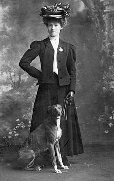 Whippet - Lady and whippet, circa 1900