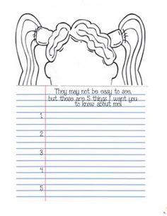 children's self-portrait templates, writing prompts for september, writing prompts for back to school,