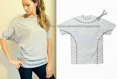 Esta imagem de reciclagem sugere o ajustamento de uma t-shirt larga. Com recurso a uma tesoura recorte a t-shirt como sugere a figura e costure. A reciclag