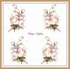 PAPER napkins for DECOUPAGE - Vintage Pink Roses S060 by VintageNapkins on Etsy
