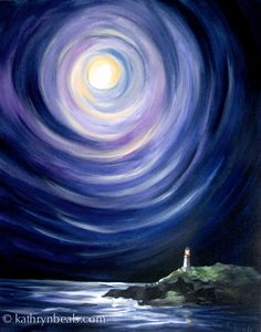 magical winter sky painting - Google Search