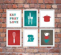 Stunning Red and Deep Turquoise Kitchen Art Print Set Eat Pray Love Utensils by 7-WondersDesign