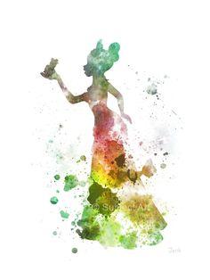 Tiana, la princesa y la ilustración de la rana de lámina, Disney, arte de la pared, decoración del hogar, guardería,