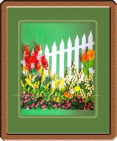 A Journey into Quilling & Paper Crafting: Quilled Lanscape Picture Flower Frame - Behind The...