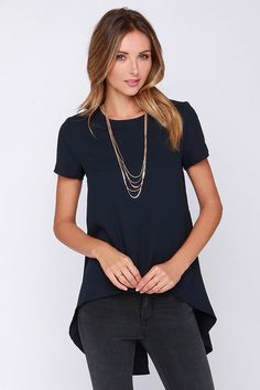 Glamorous Expert At Everything Navy Blue High-Low Top on shopstyle.com
