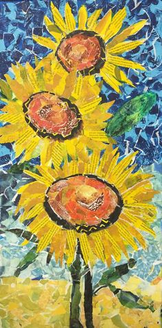 """""""Sunflowers"""" by Laurie Fitrakis - a beautiful acrylic collage using gelatin prints! Paper Collage Art, Flower Collage, Collage Artwork, Paper Art, Magazine Collage, Magazine Art, Flower Quilts, Sunflower Art, Art Sketchbook"""