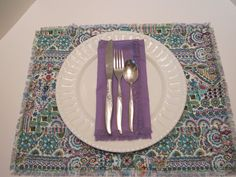 Linen Blend Fabric Placemats or Napkins - Set of 4 - Bohemian or Mediterranean Style with Fringed Edges by vertzvkv on Etsy