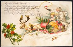Santa Postcard Christmas Santa with Elf and by EndlessEphemera