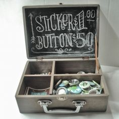 Chalkboard sing in back of suitcase. A simple aging wash and some chalkboard paint transformed a simple craft store box into something charming to display items for sale Craft Fair Displays, Market Displays, Store Displays, Merchandising Displays, Booth Displays, Retail Displays, Window Displays, Stall Display, Display Boxes