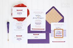 Paper Styling by Shay Cochrane.Custom wedding invitations, red, purple,orange, chevron by Ten Four Paper (www.tenfourpaper.com) Image styling and photography by Shay Cochrane 2013 all rights reserved. www.shaycochrane.com