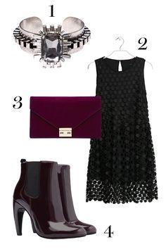1. Rue Gembon cuff, $70;ruegembon.com.  2.Mango dress, $129.99; mango.com.  3. ASOS clutch, $34.11;ASOS.com.  4. Zara boots, $99.90;zara.com.   - MarieClaire.com