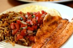 Scramble up your morning routine. Try one of #RuthsFavorite dishes, Red Trout & Eggs. Cajun spiced filet, grilled and topped with salsa fresca. Served with two eggs.