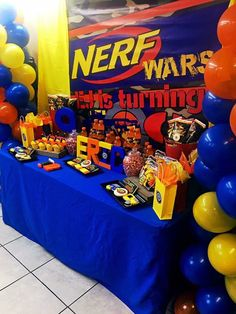 Nerf Party Food, Nerf Birthday Party, 13th Birthday Parties, 9th Birthday, Birthday Ideas, Its A Boy Banner, Nerf Gun, Party Planning, Party Ideas