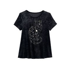 Girls 7-16 & Plus Size Mudd® Foil Print Velvet Swing Tee, Size: 14 1/2, Black