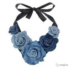 """The thing about fashion is that the rules are always changing. As Heidi Klum says on Project Runway, """"one day you're in, the next, you're out. denim choker from old jeans Canada's Fashion and Beauty Magazine very cool necklace Fabric Necklace, Diy Necklace, Flower Necklace, Fashion Necklace, Pearl Necklace, Textile Jewelry, Fabric Jewelry, Denim Flowers, Fabric Flowers"""
