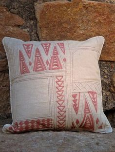 INspired by the textiles of the Summer Palaces of India - Ecru-Madder Gulzar Dori Embroidered Reversible Cotton Cushion Cover 16in x 16in