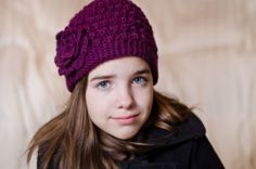 Purple Bobble Beanie from Etsy $20.00