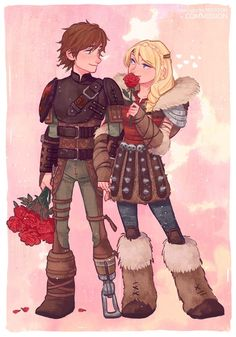 Hiccup and Astrid with beautiful red roses How To Train Dragon, How To Train Your, Hicks Und Astrid, Httyd Dragons, Hiccup And Astrid, Dragon Rider, Dragon Art, Disney And Dreamworks, Disneyland