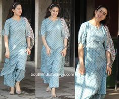 Sara Ali Khan stepped out wearing a blue printed kurta set by Libas. She styled her look with a pair of printed juttis by Coral Haze and matching bangles! Dress Indian Style, Indian Dresses, Indian Outfits, Pakistani Outfits, Simple Kurti Designs, Kurta Designs Women, Churidar, Anarkali, India Fashion
