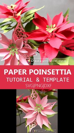 Making paper Poinsettia flower is so easy now with my tutorial and template Diy Christmas Gifts, Christmas Crafts, Christmas Stuff, Christmas Ornaments, Fabric Flowers, Paper Flowers, Paper Crafts, Diy Crafts, Paper Art
