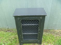 Black distressed Rustic  cabinet with chicken wire door, rustic nightstand, end table, jelly cabinet, bathroom storage, beach, cottage