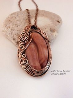 Wire Wrapped Rose, Red Jasper Pendant Necklace, Antiqued Copper Wire Weaved Jewelry, Handmade Wire Jewelry