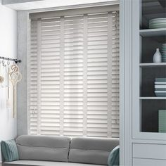 Pearl Grey & Mist Wooden Blind with Tapes - Slat House Blinds, Blinds For Windows, Curtains With Blinds, Window Blinds, Blackout Curtains, White Wooden Blinds, Bathroom Blinds, Faux Wood Blinds, Cheap Curtains