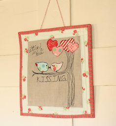 valentine birds wall hanging  sitting in a tree KISSING