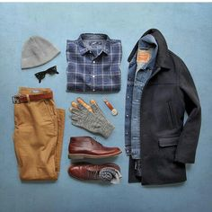 Shirt: Brushed Oxford Shoes: Alden Chukka Gloves: full finger deerskin Coat: University Jacket Chinos: Denim Jacket: Slim Trucker Belt/Socks: Watch: Beanie: Glasses: by Mode Outfits, Fashion Outfits, Fashion Clothes, Look Fashion, Mens Fashion, Daily Fashion, Fashion Network, Outfit Grid, Sharp Dressed Man