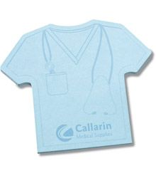 Scrub shirt post it note...another cute idea for a party favor with a syringe pen.