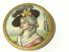 """GORGEOUS  BUTTON WITH SIGNED PAINTING - 1 1/2""""   SOLD $812.89 from Philadelphia on 10/2/2014"""