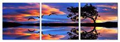 "Lake Illusion. 47""x16"" Ready to Hang. Contemporary Art, Modern Wall Decor, 3 Panel Wood Mounted Giclee Canvas Print. A1226 SLS Vision,http://www.amazon.com/dp/B00BIP4I2C/ref=cm_sw_r_pi_dp_0GSMsb1ZHMZSNF0V"