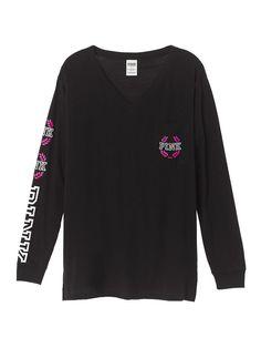 Campus Long Sleeve V-Neck Tee - PINK - Victoria's Secret