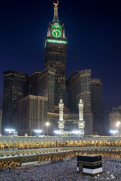 The Abraj Al-Bait Towers above Al-Masjid Al-Haram, the mosque that surrounds the Kaaba - Mecca, Saudi Arabia