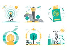 Vector icon designs for The Business Year Magazine's chapter openers such as economy, energy, agriculture, transporting, diplomacy, ICT... For more details you can also check out www.kursatunsal.c...