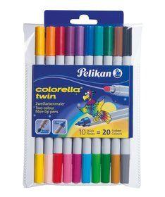 Pelikan, Colorella Twin, Flamastry dwustronne, 10 szt.