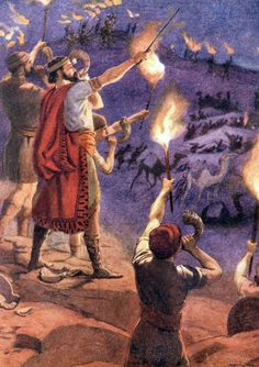 Judges 'and they stood every man in his place round about the enemy camp: and all the host ran, and cried, and fled. Bible Lessons For Kids, Bible For Kids, Gideon Bible, Meditation Images, 6 Images, Bible Illustrations, Christian Pictures, Bible Pictures, Prophetic Art