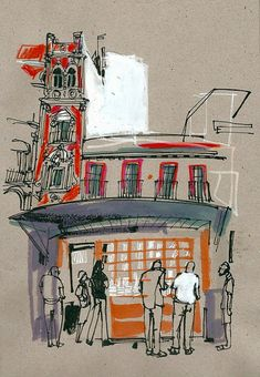 Urban sketchers show the world, one drawing at a time. Travel Sketchbook, Artist Sketchbook, Art Sketches, Art Drawings, Guache, A Level Art, Illustration, Urban Sketchers, Sketch Painting