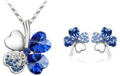 Swarovski Elements Crystal Four Leaf Clover Pendant Necklace 47CM And Earrings Jewelry Set - CN9034Z3 Color-jewels. $34.99. Comes in a gift box.. Save 56%!