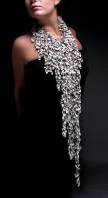 """Sparkle - Necklace, by Heather Thompson. """"The shells are slip cast porcelain pistachio shells with pearls inside"""" Jewelry Art, Jewelry Design, Silver Jewellery, Pistachio Shells, Ceramic Jewelry, Schmuck Design, Elegant, Statement Jewelry, Wearable Art"""