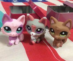 #1921#2400#2100Littlest Pet Shop LPS  grey gray pink white wolf cat purple eyes #Hasbro